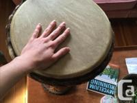 Large, authentic djembe for sale, made from hardwood