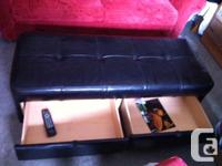 Large black leather ottoman (tufted top, not the smooth