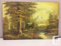 Oil on Canvas showing in great detail a forested scene