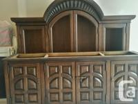 Large Solid Pecan Wood Dining Room Hutch Cabinet $175