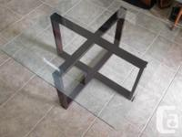 Nice large square clear glass topped coffee table. for sale  Ontario