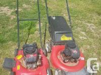 Two lawn mowers for $50 the one with the bag runs great