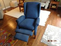 Navy Blue recliner wing chair made by Lazy Boy. The