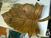 Vintage brass,  leaf shaped tray, 3-30, copyright 1948,