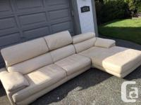 Cream Leather Couch Chaise - bought from Scan Designs