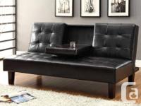 Solid Click Clack Sofa Bed with Cup Tray on the lowest