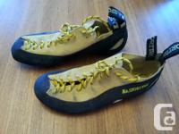 EUC climbing shoes used only 10 times indoors. $90 new.