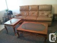 Beige leather-made sofa and loveseat collection. 4 of