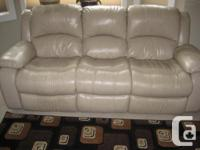 Leather sofa/couch with double recliners, 3 years of