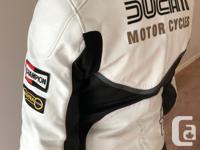 Vintage style Ducati leather motorcycle jacket. Euro