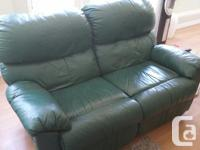 Well made, green leather double recliner. Excellent