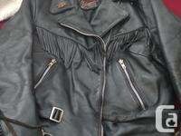 Ladies black leather Harley Davidson Riding Jacket Full