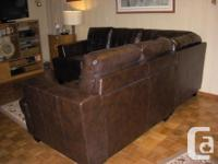 Chocolate brown sectional. Like new, from Dodd's in