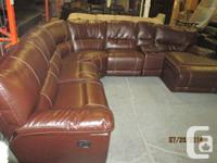Sectional Leather sofa with two recliner seats, one