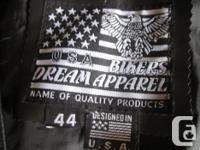 "As new black leather ""Bikers Dream Apparel"" vest size"