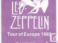 LED ZEPPELIN 1980 European Tour backstage pass. This