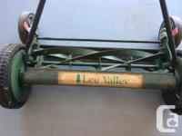 """21"""" wide, height adjustable push type lawn mower. Get"""