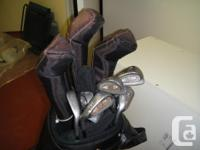 Gold Eagle bag and 12 clubs for left handed golfer. The