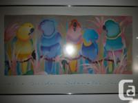 Beautifully framed water color Parrots in harmony. Done