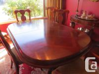 Beautiful double pedestal solid cherry wood dining room