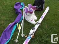 light ladies ski boots size 8 with poles, ski and bags