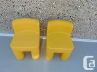 Little Tikes 2 Yellow Child Size Heavy Plastic Chairs