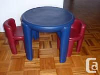 Little Tikes plasric table and 2 chairs. Great for play