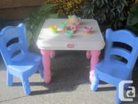 Little tikes pink/white table with original blue