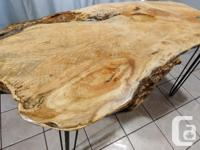 Solid live edge maple desk or table. Hairpin legs with