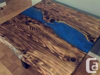 Live edge torched cedar river table. Can be used as