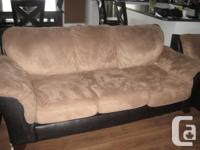 Brown Microsuede/Faux Leather couch, 2 matching chairs
