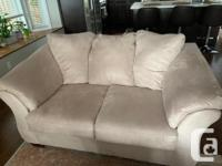 Micro fibre very comfortable; couch and love seat in