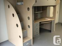 This is a nice loft bed that includes a desk, hutch, a
