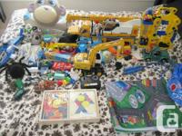 Lots of toys for boy, trucks, cars, play mat and much