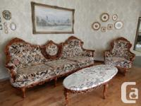 Louis XV Living Room Furniture: Sofa and Chair, End