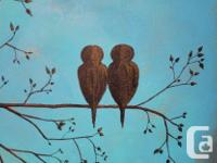 Love Birds print on canvas of original acrylic