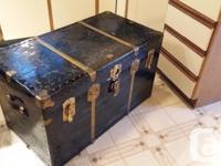 Lovely Large Antique Steamer Trunk. Original leather