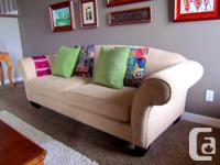 4 Seater Sofa and Love Seat, lovely fabric, well