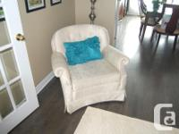 Two stylish loveseats and matching chair Will sell as a