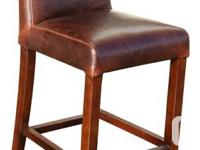 """Low Back Distress Brown Leather Counter Stool in 26"""""""