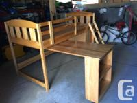 Solid pine. Made in Canada. Approximately three feet of