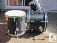 "Late 80s Ludwig drums with bass 22"", hanging tom 12"","