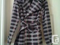 GREY AND MAROON PLAID RAIN COAT, WITH LAPELS AND BELT.