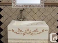 Unique powder room/bathroom/washroom vanity with