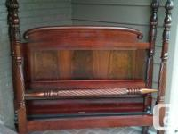 Superb antique strong mahogany 4 poster bed c/w side