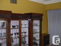Carved Mahogany Display Cabinet with Glazed Panel