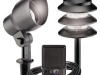 The Malibu 8-Light Outdoor Black Tier/Flood Light Kit