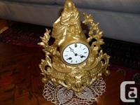 MANTEL FRENCH CLOCK, WITH ENEMEL DIAL, THE DOUBLE