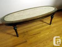 Wooden Coffee Table with Marble Insert. Dimensions: