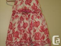 sleeveless Girls summer Dress with pink roses fancy
